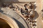 Palazzo La Rocca Baroque sculpted door cornice corbels, Ragusa Ibla, Sicily