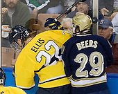 Brendan Ellis (Merrimack - 22), Jared Beers (Notre Dame - 29) - The University of Notre Dame Fighting Irish defeated the Merrimack College Warriors 4-3 in overtime in their NCAA Northeast Regional Semi-Final on Saturday, March 26, 2011, at Verizon Wireless Arena in Manchester, New Hampshire.