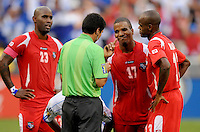 Panama Luis Henriquez (17) shows his disagreement  with referee Walter Quesada after awarding El Salvador a penalty kick.    Panama defeated El Salvador in penalty kicks 5-3 in the quaterfinals for the 2011 CONCACAF Gold Cup , at RFK Stadium, Sunday June 19, 2011.