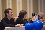 Judges, from left to right, Alpha Phi Omega President Alex Malcolm, Jenny Hall-Jones, and Jacob Hagman laugh during the talent portion of the 8th Annual Ava Nichols Faculty Pageant on Feb. 27, 2017.
