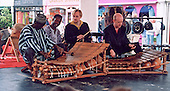 Percussionists performing on two balafons on the Master Musicians of Ghana Tour, London 2000.