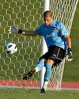 The Charlotte Eagles goalkeeper Corbin Waller strikes the ball during a game against the Bolton Wanderers.   The Charlotte Eagles currently in 3rd place in the USL second division played a friendly against the Bolton Wanderers from the English Premier League on 7/14/10 losing 3-0.