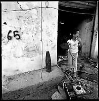 Aita Chab, South Lebanon, September 2006.Unexploded Israeli 155mm artillery shell inside the village..