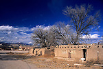 USA, New Mexico, Santa Fe. Dwellings at San Ildefonso Pueblo.