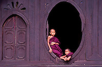 Novice Buddhist Monks at a Monastery near Sagig, Burma, Myanmar