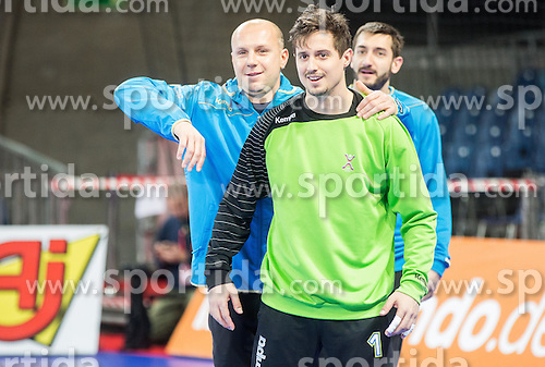 Gorazd Skof of Slovenia and Matevz Skok of Slovenia during practice session of Team Slovenia on Day 1 of Men's EHF EURO 2016, on January 15, 2016 in Centennial Hall, Wroclaw, Poland. Photo by Vid Ponikvar / Sportida