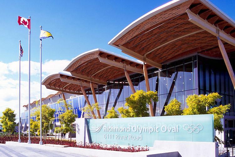Richmond Olympic Oval, Richmond, BC, British Columbia, Canada - 2010 Vancouver Winter Olympics Speed Skating Rink Venue.  The roof is constructed mainly of mountain pine beetle-killed wood. Editorial Use Only