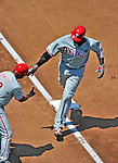 30 May 2011: Philadelphia Phillies first baseman Ryan Howard rounds third after hitting a home run against the Washington Nationals at Nationals Park in Washington, District of Columbia. The Phillies defeated the Nationals 5-4 to take the first game of their 3-game series. Mandatory Credit: Ed Wolfstein Photo