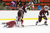 Matt McCollem (Harvard - 23), Brian Day (Colgate - 12), Austin Smith (Colgate - 9) - The Harvard University Crimson defeated the visiting Colgate University Raiders 6-2 (2 EN) on Friday, January 28, 2011, at Bright Hockey Center in Cambridge, Massachusetts.
