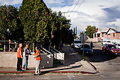 NOGALES, ARIZONA, USA, 22/10/2016:<br /> Republican party members Shuron Harvey and Sergio Arellano  on a campaign around the town of Nogales by the Mexican border, urging to vote for Donald Trump and other republican candidates. Nogales is inhabited mainly by the hispanic population.<br /> Arizona, traditionally very republican state, has become a swing state with both main candidates equally scoring in polls. (Photo by Piotr Malecki / Napo Images)