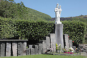 Madonna statue near Zafferana which locals believe can stop lava flows, Mount Etna Volcano, Sicily, Italy.