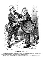 "Common Ideals. British food profiteer (to German ditto). ""Alas! My poor brother. You should have been an Englishman. England is a free country."" [The Berlin Vossische Zeitung states that about four thousand cases of profiteering are dealt with monthly in Germany.] (a British profiteer has his pockets overflowing with money while a German profiteer has his hands and feet shackled during WW1)"