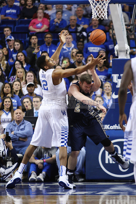 UK forward Karl-Anthony Towns and Montana State center Blake Brumwell fight for the ball during UK vs. Montana State in Rupp Arena in Lexington, Ky., on Sunday, November 23,  2014. Photo by Emily Wuetcher | Staff