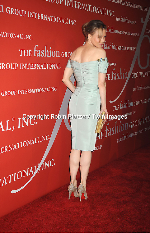 Renee Zellweger in Carolina Herrera light blue dress attends the Fashion Group International's 29th Annual  Night of Stars Gala on October 25, 2012 at Cipriani Wall Street in New York City.
