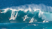 Waimea Bay, North Shore, Oahu, Hawaii (Wednesday, February 10 2016): Mar Ono (JPN) and Tom Carroll (AUS) The Quiksilver In Memory of Eddie Aikau was given the Green light 'Go' signal two days ago with a forecasted big swell due to hit on Wednesday morning. Everything was put in place for the event to kick off with some contestants flying into Hawaii from Chile, France, Australia and the US mainland. Unfortunalty the predicted swell failed to arrive as predicted as the storm front moved North of the islands forcing the postponement . <br /> Photo: joliphotos.com