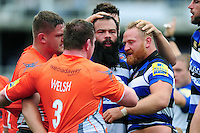 Kane Palma-Newport and Ross Batty of Bath Rugby get to know their opposite numbers after a scrum. Aviva Premiership match, between Bath Rugby and Newcastle Falcons on September 10, 2016 at the Recreation Ground in Bath, England. Photo by: Patrick Khachfe / Onside Images