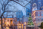 Winter lights on Quincy Market at Faneuil Hall Marketplace, Boston, Massachusetts, USA