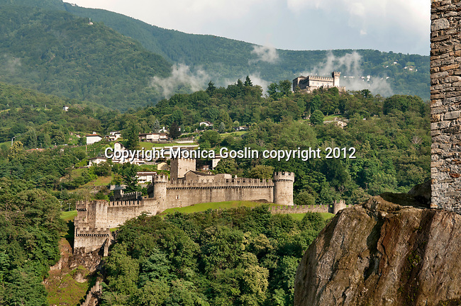 A view of all two of three castles in Bellinzona, Switzerland