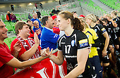 Linea Torstensson of Krim after the handball match between RK Krim Mercator and Gyori Audi ETO KC (HUN) in 3rd Round of Group B of EHF Women's Champions League 2012/13 on October 28, 2012 in Arena Stozice, Ljubljana, Slovenia. Gyori defeated Krim Mercator 31-20. (Photo By Vid Ponikvar / Sportida)