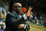 04 November 2014: Livingstone head coach James Stinson. The Duke University Blue Devils hosted the Livingstone College Blue Bears at Cameron Indoor Stadium in Durham, North Carolina in an NCAA Men's Basketball exhibition game. Duke won the game 115-58.