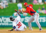 6 March 2012: Washington Nationals infielder Andres Blanco gets a sliding Luis Durango out at second during a Spring Training game against the Atlanta Braves at Champion Park in Disney's Wide World of Sports Complex, Orlando, Florida. The Nationals defeated the Braves 5-2 in Grapefruit League action. Mandatory Credit: Ed Wolfstein Photo