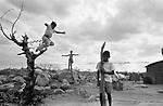crianças brincando em terras secas por causa da falta de chuva na paraíba.children playing in dry lands because of the rain lack in the paraíba