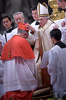 cardinal John Atcherley Dew New Zealand.Pope Francis,during a consistory for the creation of new Cardinals at St. Peter's Basilica in Vatican.February 14, 2015