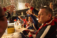 USA fans celebrate their draw against Mexico with a shot of tequila at the Galeria Plaza hotel bar. The USA tied Mexico at their World Cup Qualifier at Azteca stadium in Mexico City, Mexico on March 26, 2013.