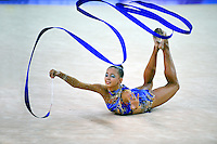 Daria Dmitrieva of Russia performs with ribbon during event finals at 2010 Holon Grand Prix at Holon, Israel on September 4, 2010.  (Photo by Tom Theobald).