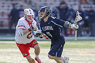 College Park, MD - March 18, 2017: Villanova Wildcats Devin McNamara (4) tries to run past Maryland Terrapins Wesley Janeck (22) during game between Villanova and Maryland at  Capital One Field at Maryland Stadium in College Park, MD.  (Photo by Elliott Brown/Media Images International)