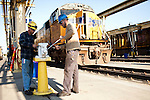 Union Pacific machinists Nathan Jackson, left, and Derrick Pierce, right, works in a UP maintenance yard in Roseville, Calif., November 8, 2011. Jackson has worked at Union Pacific for six years, while Pierce has five..CREDIT: Max Whittaker/Prime for The Wall Street Journal.HIRE