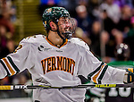24 October 2015: University of Vermont Catamount Forward Brady Shaw, a Junior from Ottawa, Ontario, smiles in the second period during play against the University of North Dakota at Gutterson Fieldhouse in Burlington, Vermont. North Dakota defeated the Catamounts 5-2 in the second game of their weekend series. Mandatory Credit: Ed Wolfstein Photo *** RAW (NEF) Image File Available ***