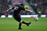 Dan Carter of New Zealand kicks for the posts. Rugby World Cup Semi Final between South Africa and New Zealand on October 24, 2015 at Twickenham Stadium in London, England. Photo by: Patrick Khachfe / Onside Images
