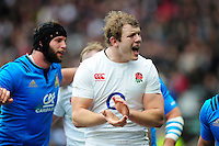 Joe Launchbury of England celebrates as his team win a penalty. RBS Six Nations match between England and Italy on February 26, 2017 at Twickenham Stadium in London, England. Photo by: Patrick Khachfe / Onside Images