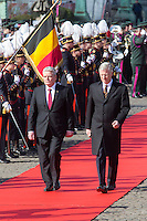 German President Gauck during State visit in Belgium - Welcoming ceremony - Brussels