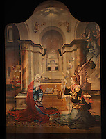 The Annunciation, with the Angel Gabriel announcing to the Virgin that she will bear the son of God, painting, 16th century, by Portuguese School, in the Museu Nacional de Machado de Castro, Coimbra, Portugal. The museum was opened in 1913 and renovated 2004-2012. The city of Coimbra dates back to Roman times and was the capital of Portugal from 1131 to 1255. Its historic buildings are listed as a UNESCO World Heritage Site. Picture by Manuel Cohen