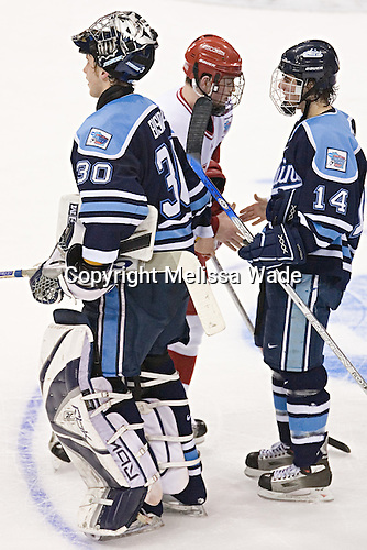 Ben Bishop, Jack Skille, Billy Ryan - The University of Wisconsin Badgers defeated the University of Maine Black Bears 5-2 in their 2006 Frozen Four Semi-Final meeting on Thursday, April 6, 2006, at the Bradley Center in Milwaukee, Wisconsin.  Wisconsin would go on to win the Title on April 8, 2006.