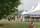 Following the graduation ceremony, celebrations continue in a marquee in the grounds, University of Surrey.