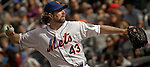New York Mets Pitcher R.A. Dickey throws the ball against Miami Marlins at Citi Field Stadium in New York. Photo by Eduardo Munoz Alvarez / VIEW.