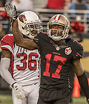San Francisco 49ers wide receiver Jeremy Kerley (17) waves to crowd after catching pass for touchdown on Thursday, October 06, 2016 at Levis Stadium in Santa Clara, California. The Cardinals defeated the 49ers 33-21.