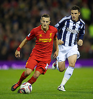WEST BROMWICH, ENGLAND - Wednesday, September 26, 2012: Liverpool's Samed Yesil in action against West Bromwich Albion during the Football League Cup 3rd Round match at the Hawthorns. (Pic by David Rawcliffe/Propaganda)