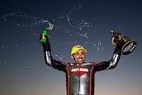 Nov 10, 2013; Pomona, CA, USA; NHRA pro stock motorcycle rider Eddie Krawiec celebrates after winning the Auto Club Finals at Auto Club Raceway at Pomona. Mandatory Credit: Mark J. Rebilas-