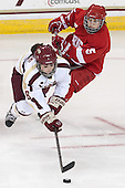 Dana Trivigno (BC - 8), Cassandra Poudrier (Cornell - 5) - The Boston College Eagles defeated the visiting Cornell University Big Red 4-3 (OT) on Sunday, January 11, 2012, at Kelley Rink in Conte Forum in Chestnut Hill, Massachusetts.