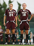 07 September 2007: Texas A&M's Ashlee Pistorius (24) and Micah Stephens (18). The University of North Carolina Tar Heels defeated the Texas A&M University Aggies 2-1 at Fetzer Field in Chapel Hill, North Carolina in an NCAA Division I Women's Soccer game, and part of the annual Nike Carolina Classic tournament.