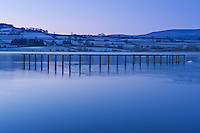 Dawn light Llangorse lake in winter, Llangors, Brecon Beacons national park, Wales