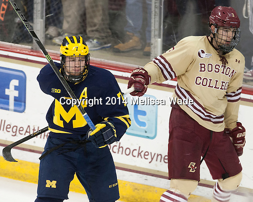 JT Compher (Michigan - 7), Ian McCoshen (BC - 3) - The Boston College Eagles defeated the visiting University of Michigan Wolverines 5-1 (EN) on Saturday, December 13, 2014, at Kelley Rink in Conte Forum in Chestnut Hill, Massachusetts.