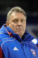 FC Dallas assistant coach John Ellinger. The New York Red Bulls defeated FC Dallas 2-1 during a Major League Soccer (MLS) match at Red Bull Arena in Harrison, NJ, on April 17, 2010.