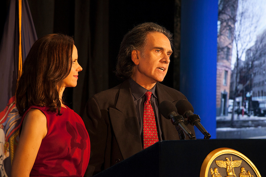 Jennifer and Peter Buffett, co-presidents of the NoVo Foundation, speak to the audience at the announcement of the new Women's Building in NYC, October 26, 2015