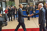 The United States President Barack OBAMA, left, arrives to the European Council welcomed by Herman VAN ROMPUY, President of the European Council, second rights, and José Manuel BARROSO, President of the European Commission,  prior a meeting in the EU-US Summit, in Brussels, Wednesday 26, March 2014. This is the first visit for President Barack Obama to the European Institutions in Brussels. Photo by Delmi Alvarez