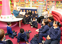 """*** NO FEE PIC*** 01/03/2012 Pictured is Irish Author Brendan O' Brien with third class children from Holy Cross National School Dundrum, Dublin at a free reading event of his book """" The Story of Ireland"""" in Eason Dundrum to celebrate the 15th annual World Book Day. To celebrate World Book Day Eason, Ireland's leading retailerof books, stationery, magazines & More have teamed up with some of Ireland'sleading children's writers to deliver a series of events in key stores to mark World Book Day. Photo: Gareth Chaney Collins"""